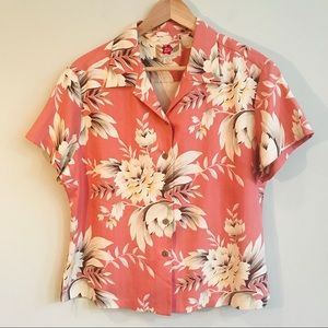 Hilo Hattie Silk Hawaiian Shirt In Pink